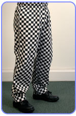 Chess board check Chefs`trousers.